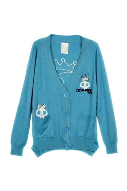 Skull Printed Blue Sweater