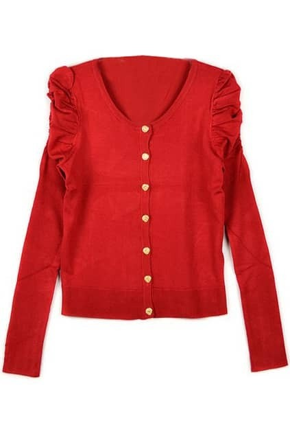 Candy Color Puff Sleeve Red Cardigan
