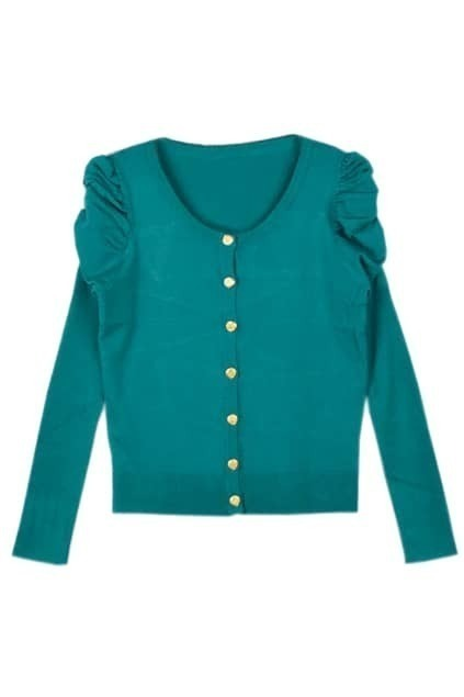 Candy Color Puff Sleeve Green Cardigan