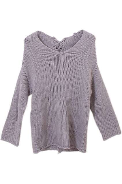 Ribbed Knit Light Grey Batwing Sweater
