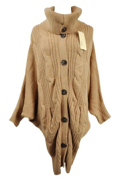 Oversized Knit Khaki Cardigan
