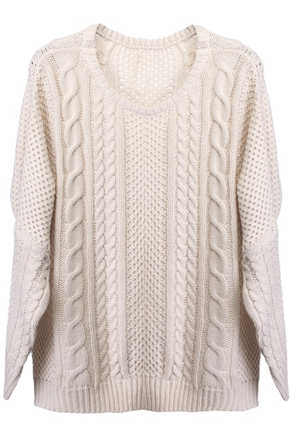 Oversized Knit Batwing Cream Sweater