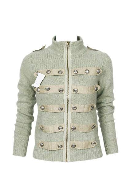 Symmetric Buttons Light Green Cardigan