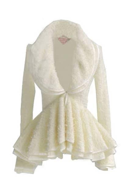 Cream Puff Sleeve Pleats Cardigan