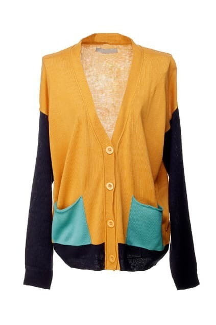 Color Block Knitted Yellow Cardigan