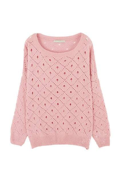 Hollow Out Pink Jumper