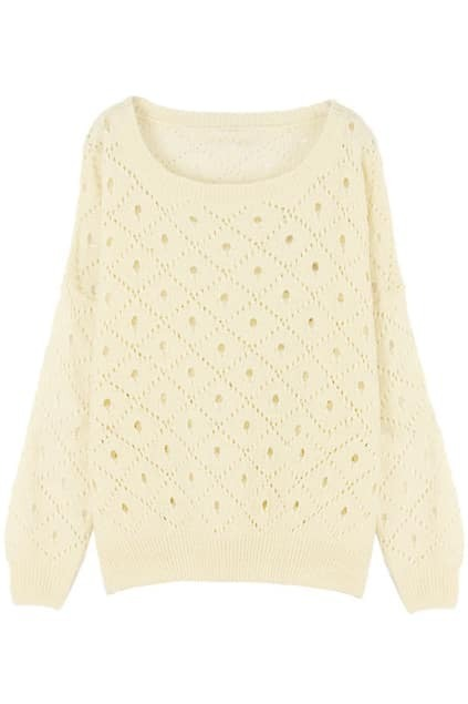 Hollow Out Cream Jumper