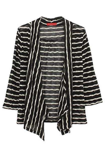 Stripes Opening Style Black Cardigan