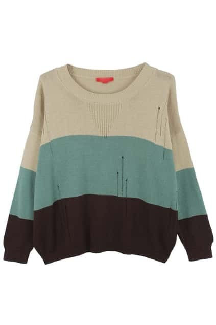 Broken Holes Color Block Ivory-brown Jumper