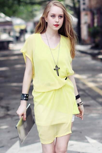 Fake Two Piece Yellow T-shirt