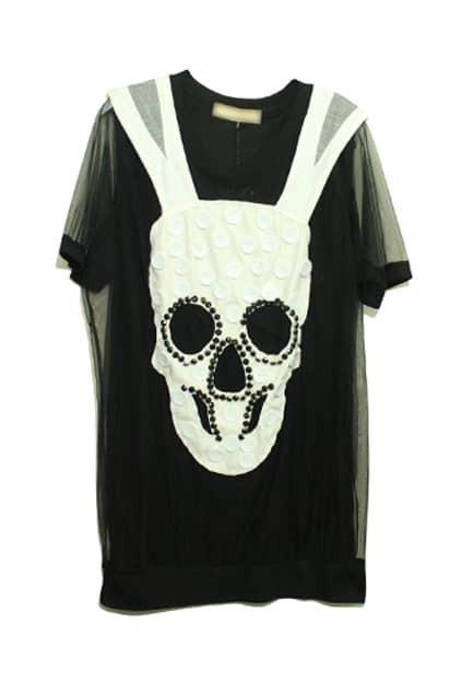Fake Twin-set Skull Print Black T-shirt