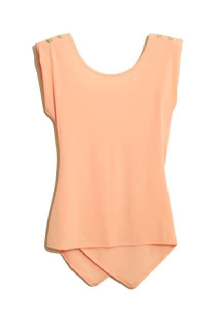 V-neckline Short Sleeve Nude-pink T-shirt