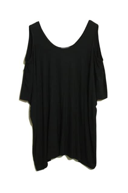 Off-shoulder Sexy Black T-shirt