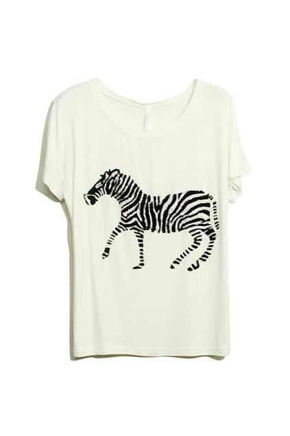Zebra Print White T-shirt