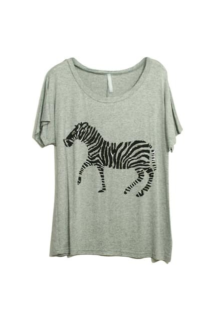 Zebra Print Grey T-shirt