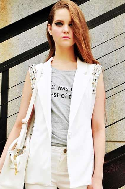 Letter Print Sleeveless Grey T-shirt