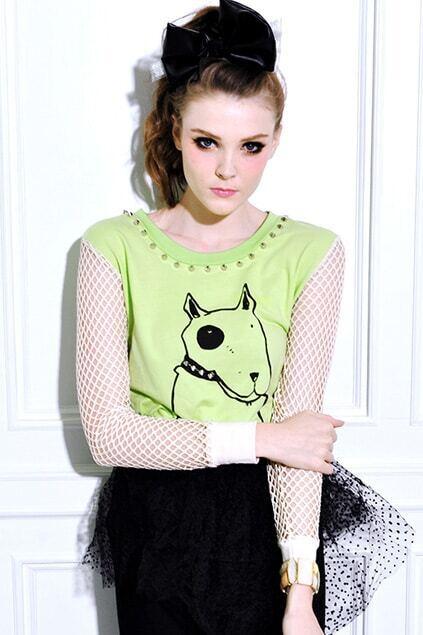 Gauze Sleeves Leisure Green Pullover Shirt