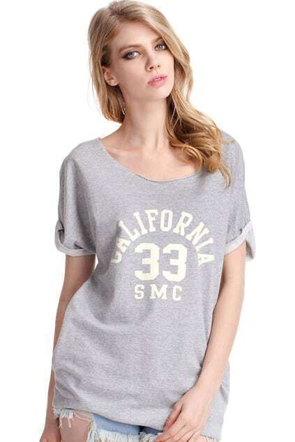 Letters Printed Grey Long T-shirt