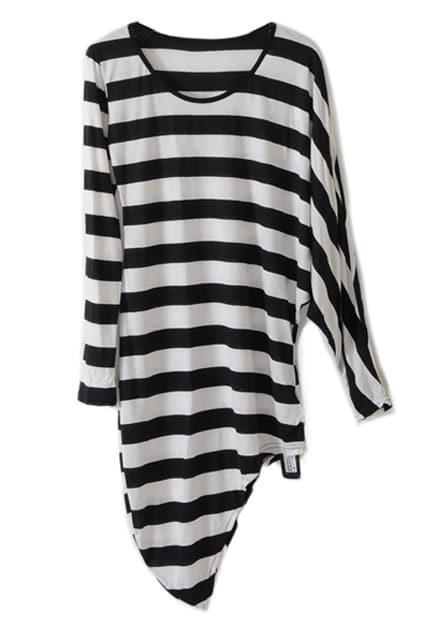 Anomalous Batwing Sleeve Stripe Black-white T-shirt
