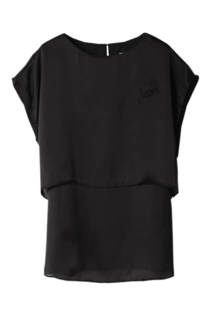 Double Layer Black Chiffon T-shirt