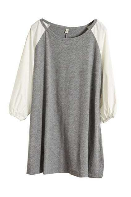 Color Block Grey Longline T-shirt
