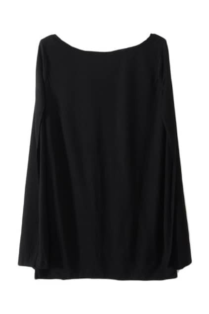 Leisure Style Caped Black T-shirt
