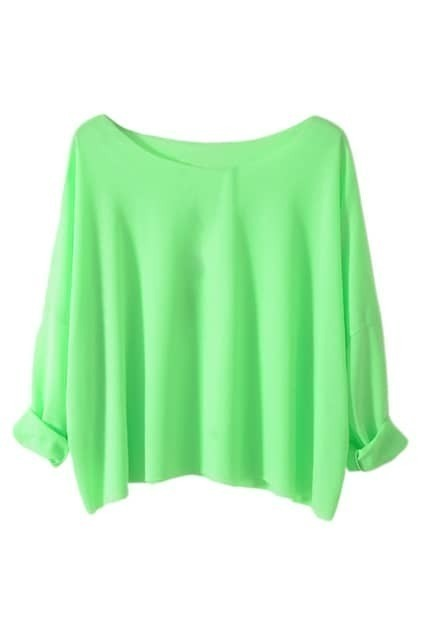 Brief Style Batwing Sleeves Green T-shirt