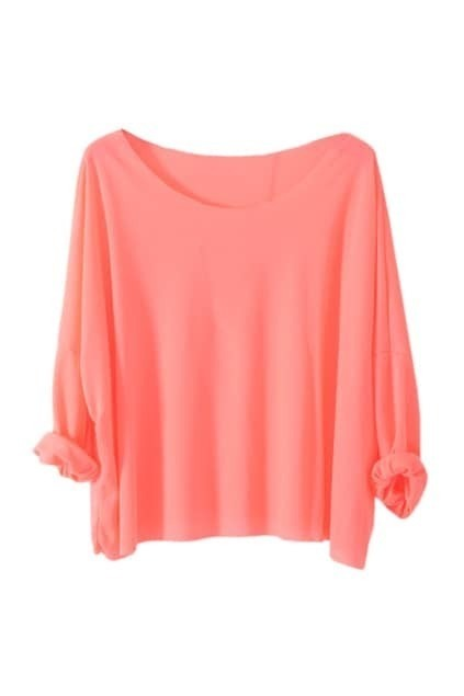 Brief Style Batwing Sleeves Watermelon-red T-shirt