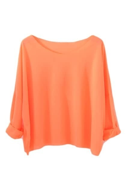 Brief Style Batwing Sleeves Orange T-shirt