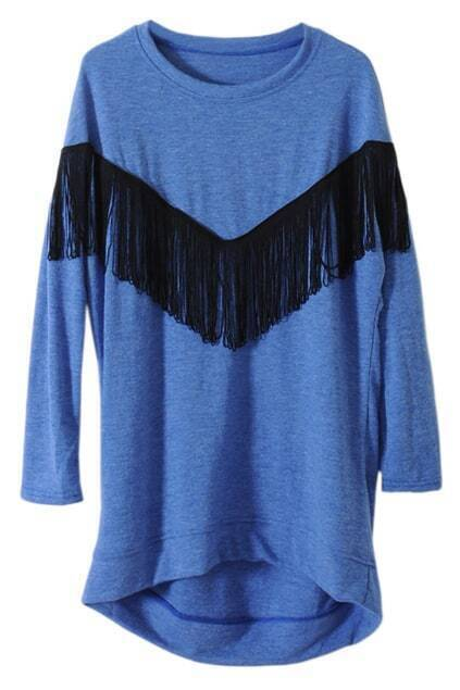 Retro Tassels Oversized Blue T-shirt