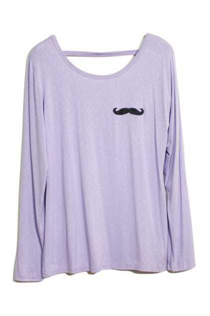 Mustache Print Purple T-shirt