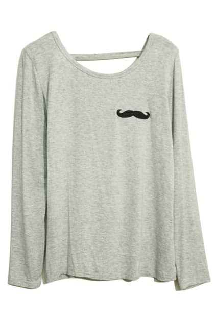 Mustache Print Grey T-shirt