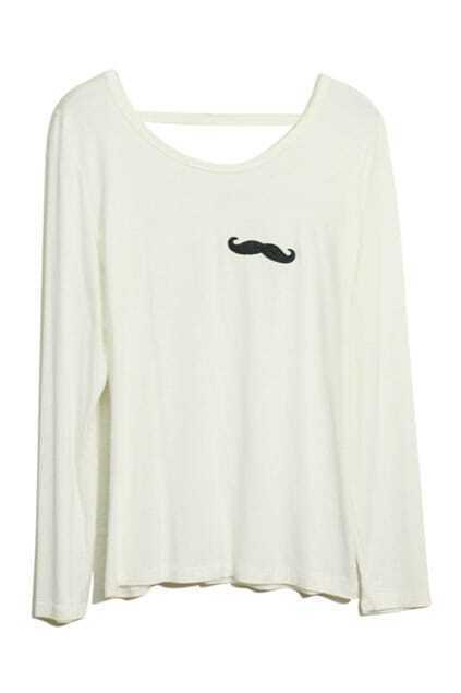 Mustache Print White T-shirt