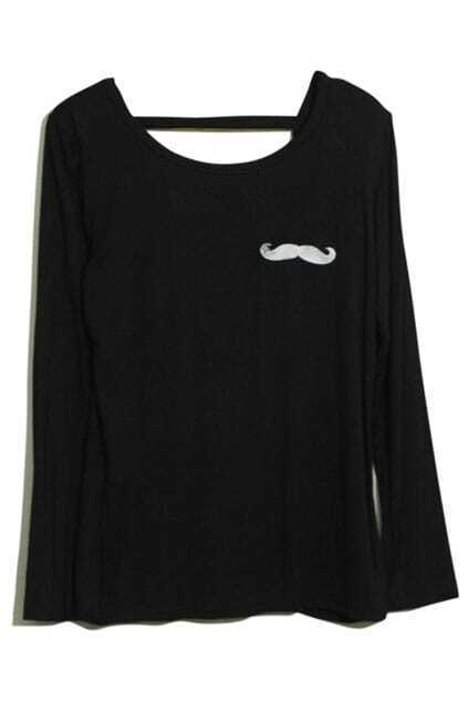 Mustache Print Black T-shirt