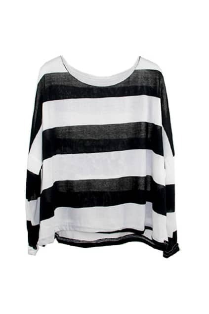 Loose Striped Black And White T-shirt