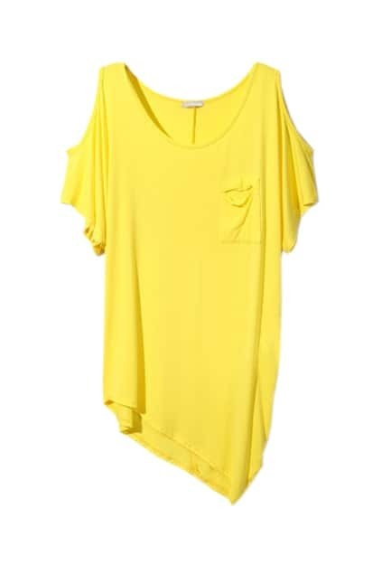 Off Shouder Sexy Bright-yellow T-shirt