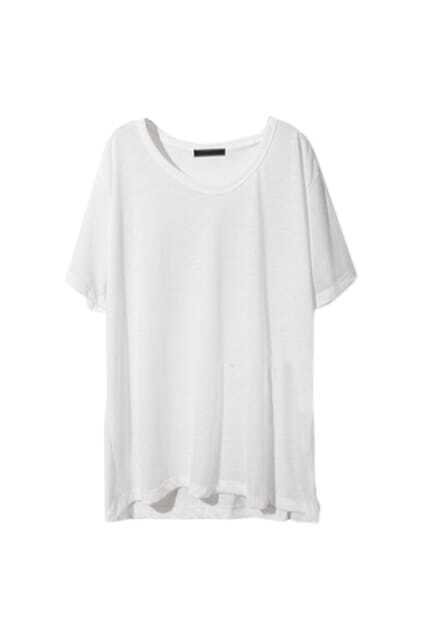 Casual Style Loose  Fit White T-shirt
