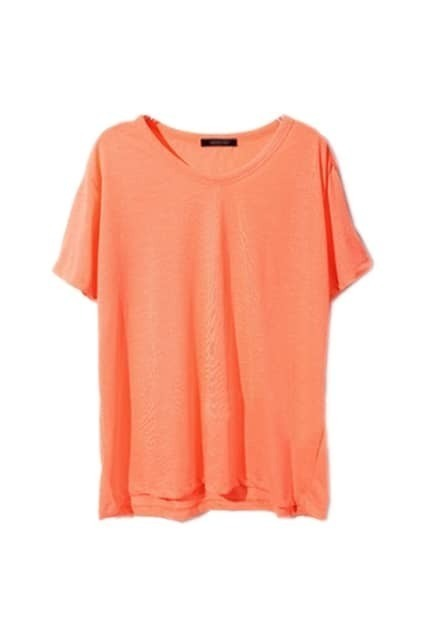 Casual Style Loose  Fit Orange T-shirt