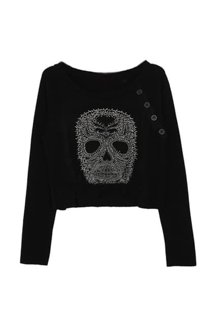 Skull Pattern Rhinestones Black T-shirt