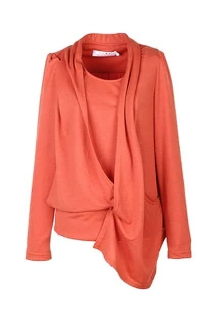 Asymmetric Fake Two-piece Orange T-shirt