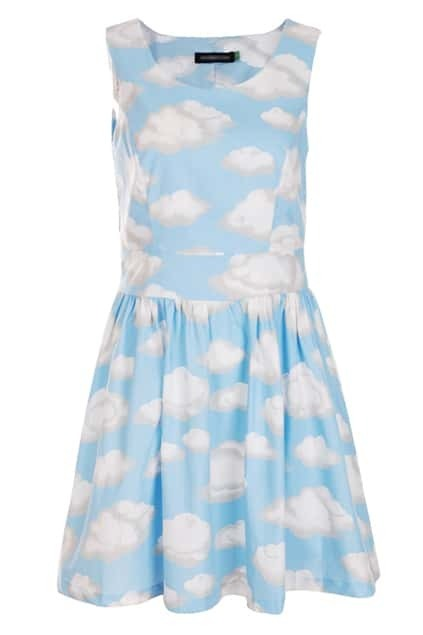 Retro Sleeveless Clound Print Dress