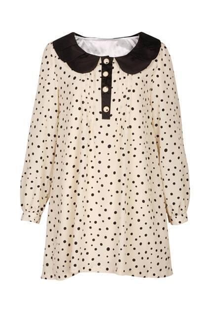Peter Pan Collar Cream-colored Dress