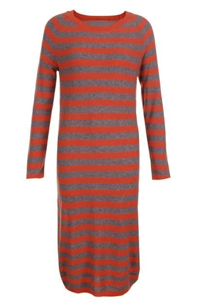 Longline Orange Stripe Print Shift Dress