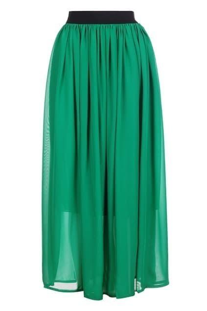Retro Green Chiffon Skirt