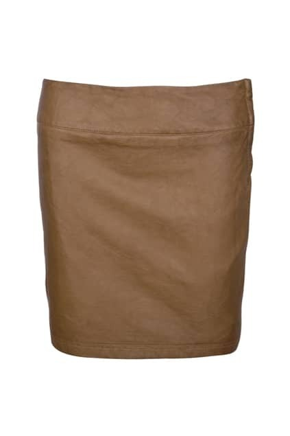 Retro Threadbare Rinse Leather Coffee Skirt