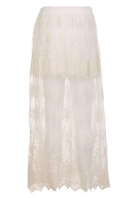 Sheer Lace Cream Skirt