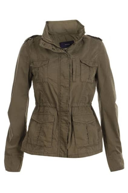 Band Collar Army Green Trench Coat