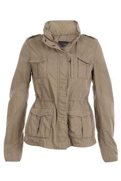 Band Collar Khaki Trench Coat