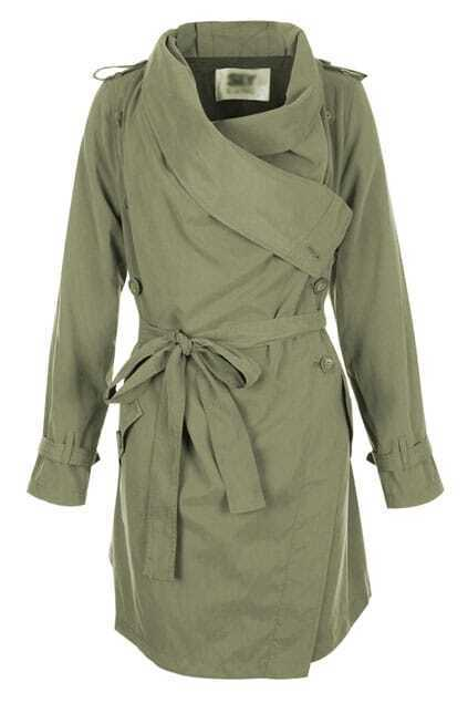 Double Breasted Army Green Trench Coat