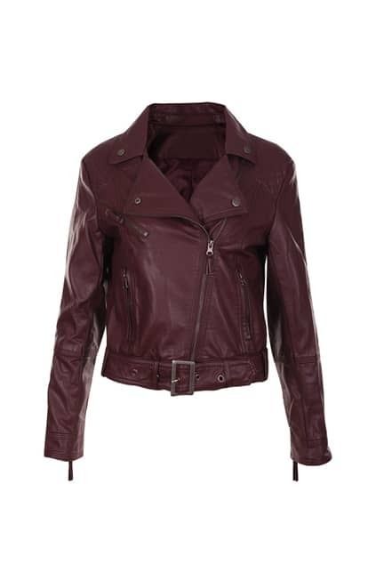 Anomalous Zip Wine Red Leather Jacket